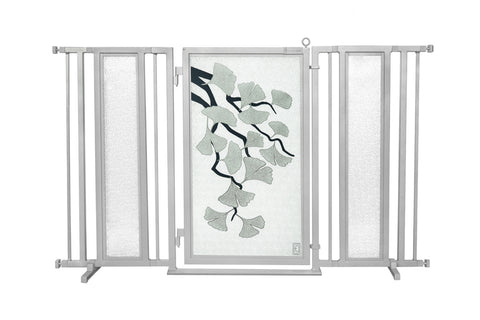 "60"" - 65"" Gold Lattice Fusion Gate, White Pearl Finish"