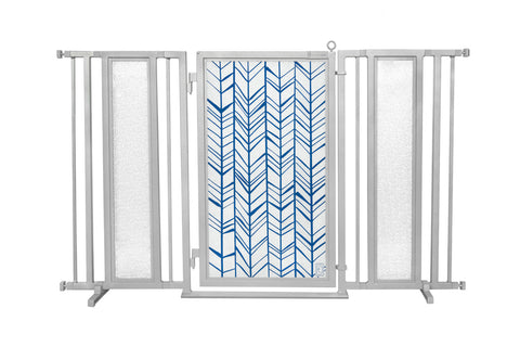 "60"" - 65"" Chevron Trail in Blue Fusion Gate, Satin Nickel Finish"