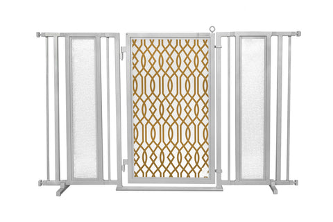 "60"" - 65"" Gold Lattice Fusion Gate, Satin Nickel Finish"