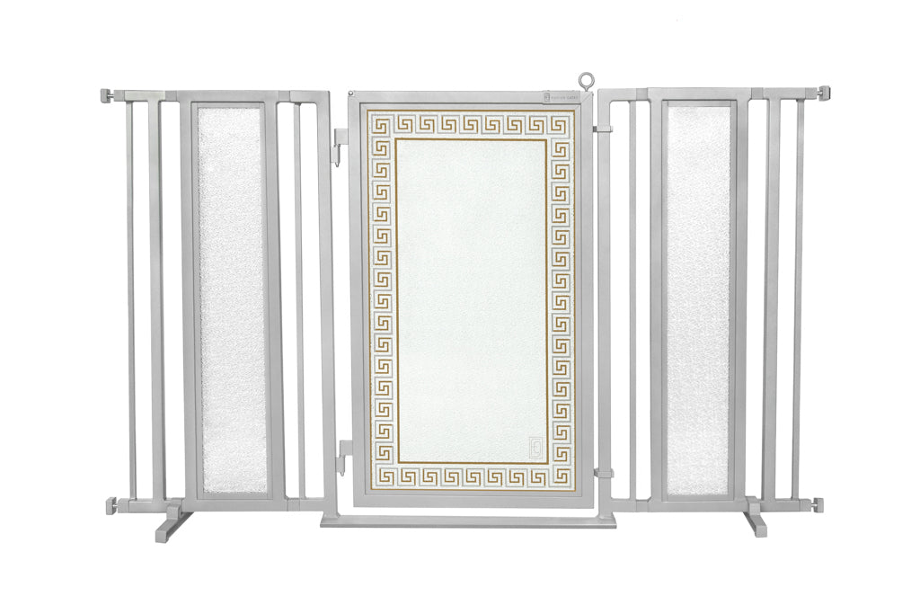 "60"" - 65"" Greek Key Fusion Gate, Satin Nickel Finish"