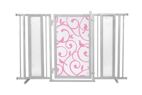 "60"" - 65"" Songbirds in Pink Fusion Gate, Satin Nickel Finish"
