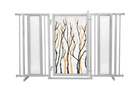 "60"" - 65"" Willow Branch Fusion Gate, Satin Nickel Finish"