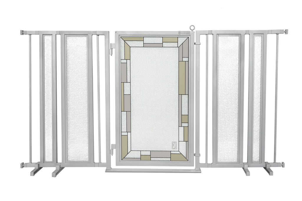 "65"" - 71.5"" Bauhaus Border Fusion Gate, Satin Nickel Finish"