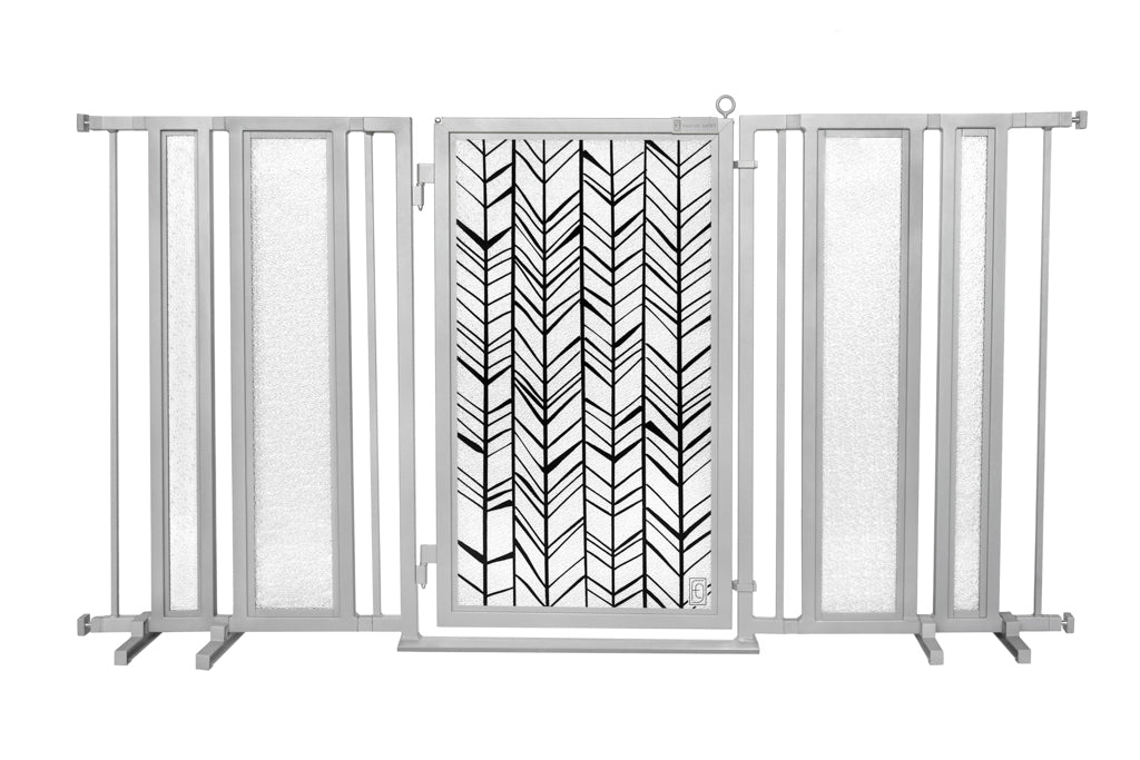 "65"" - 71.5"" Chevron Trail Fusion Gate, Satin Nickel Finish"