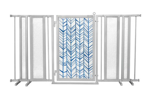"65"" - 71.5"" Chevron Trail in Blue Fusion Gate, Satin Nickel Finish"