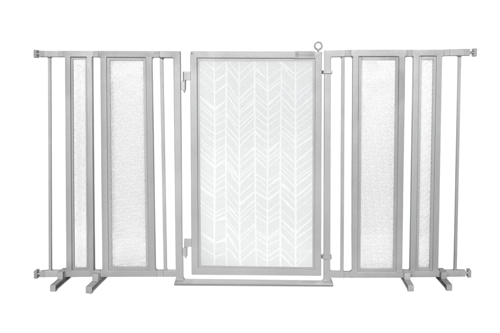 "65"" - 71.5"" Chevron Trail in White Fusion Gate, Satin Nickel Finish"