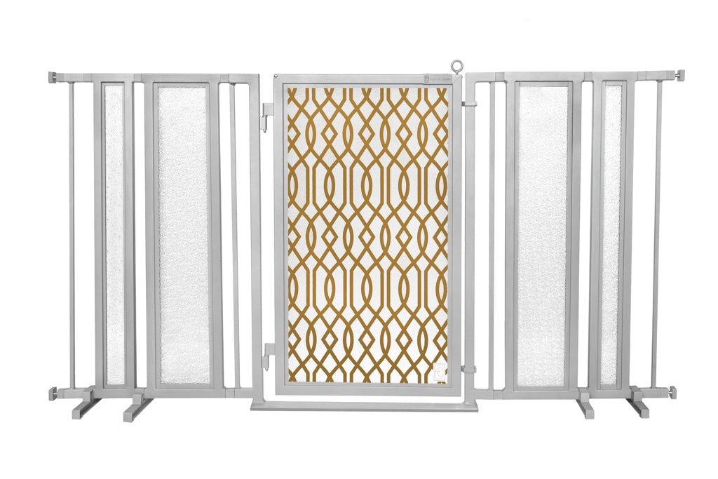 "65"" - 71.5"" Gold Lattice Fusion Gate, Satin Nickel Finish"