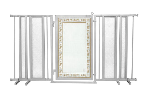 "65"" - 71.5"" Linear Lace Fusion Gate, White Pearl Finish"