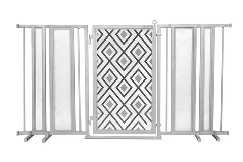 "65"" - 71.5"" Peaceful Palm Fusion Gate, Satin Nickel Finish"