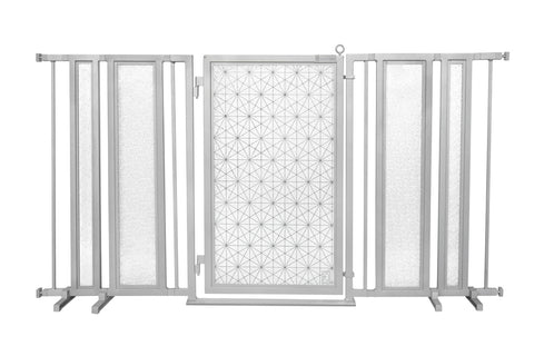 "65"" - 71.5"" Greek Key Fusion Gate, Satin Nickel Finish"