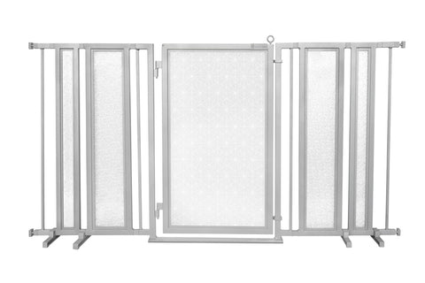"65"" - 71.5"" Trellis in White Fusion Gate, White Pearl Finish"