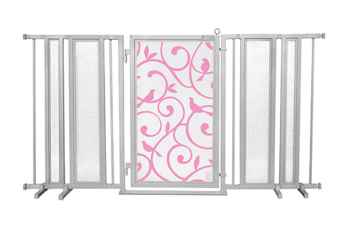 "65"" - 71.5"" Songbirds in Pink Fusion Gate, Satin Nickel Finish"