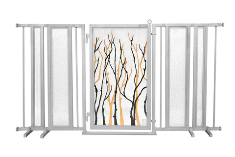 "65"" - 71.5"" Dog Is My Zen Fusion Gate, White Pearl Finish"