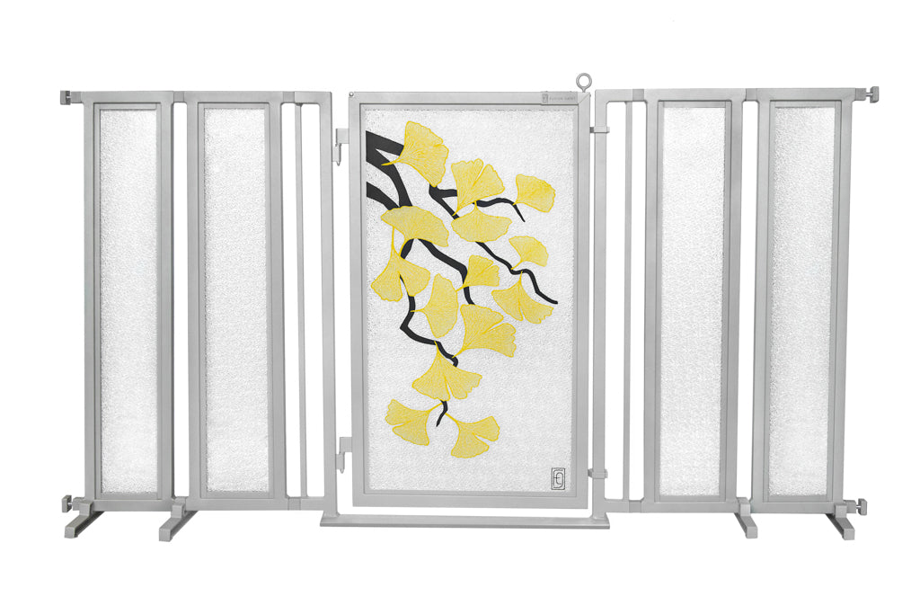 "71.5"" - 74"" Autumn Ginkgo Fusion Gate, Satin Nickel Finish"