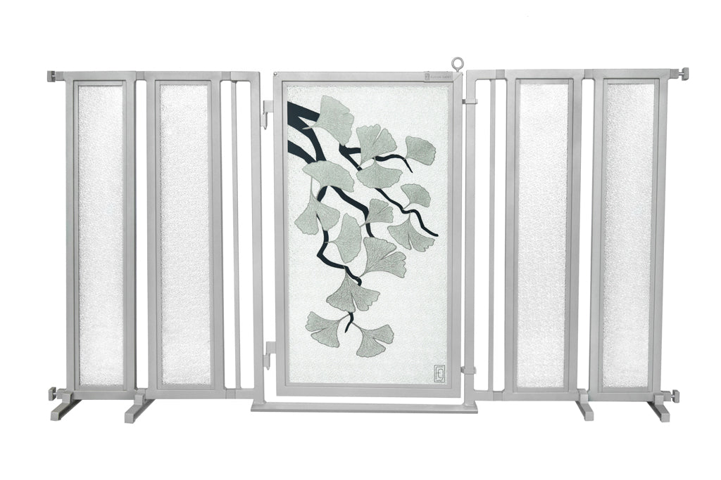 "71.5"" - 74"" Ginkgo in Platinum Fusion Gate, Satin Nickel Finish"