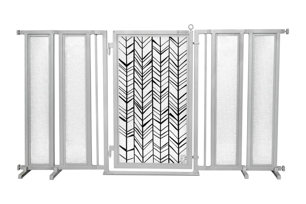 "71.5"" - 74"" Chevron Trail Fusion Gate, Satin Nickel Finish"