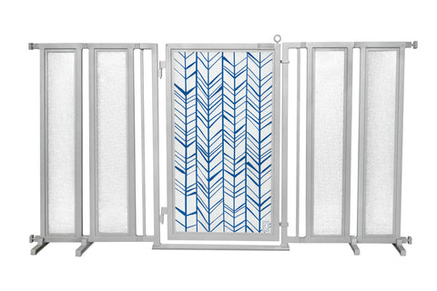 "71.5"" - 74"" Chevron Trail in Blue Fusion Gate, Satin Nickel Finish"