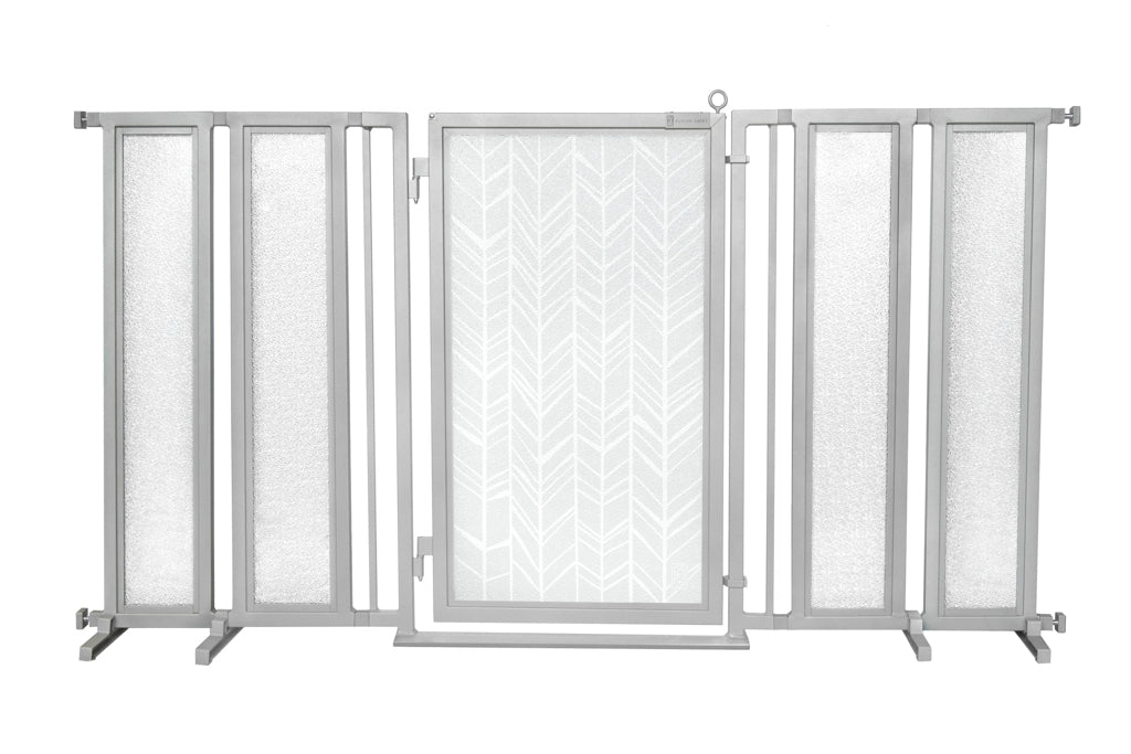 "71.5"" - 74"" Chevron Trail in White Fusion Gate, Satin Nickel Finish"