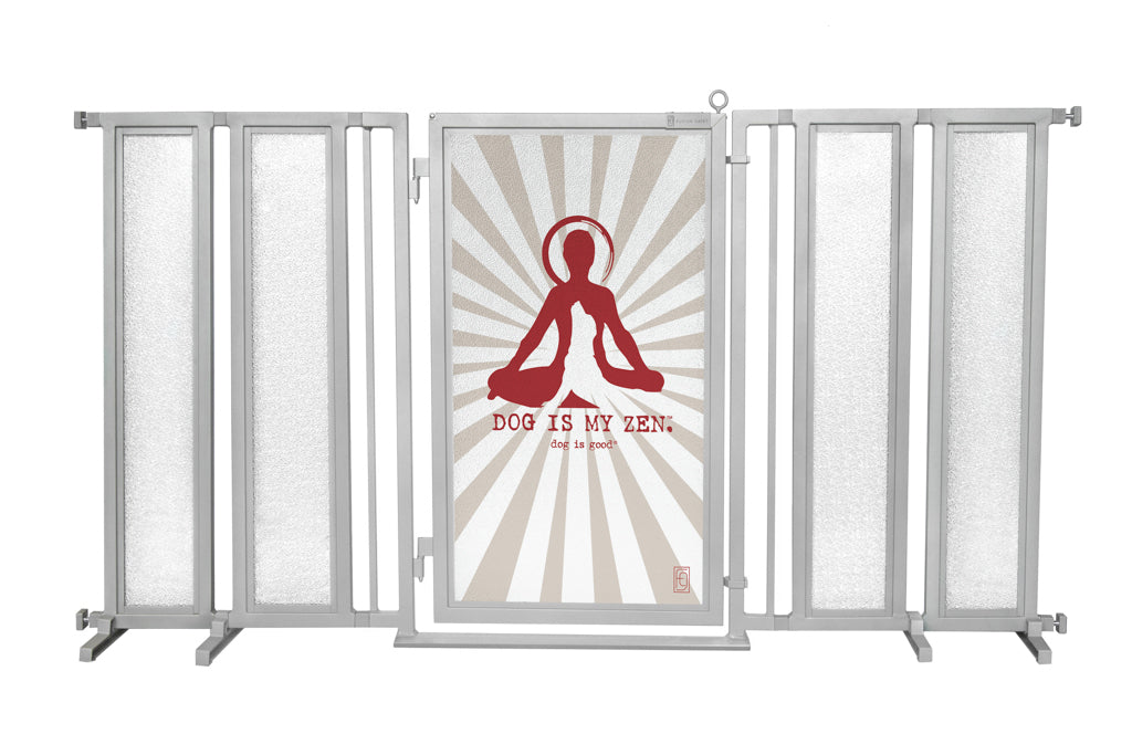 "71.5"" - 74"" Dog Is My Zen Fusion Gate, Satin Nickel Finish"