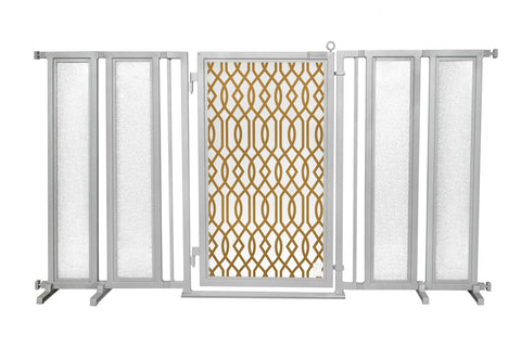 "71.5"" - 74"" Gold Lattice Fusion Gate, Satin Nickel Finish"