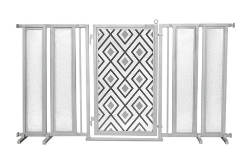 "71.5"" - 74"" Gray Diamonds Fusion Gate, Satin Nickel Finish"
