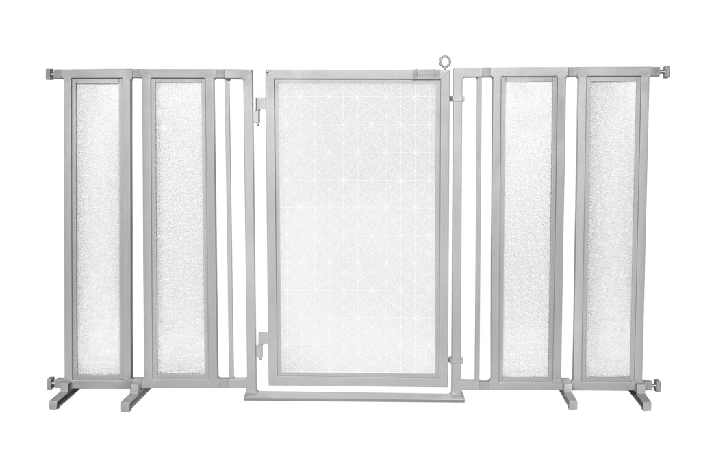 "71.5"" - 74"" Linear Lace in White Fusion Gate, Satin Nickel Finish"