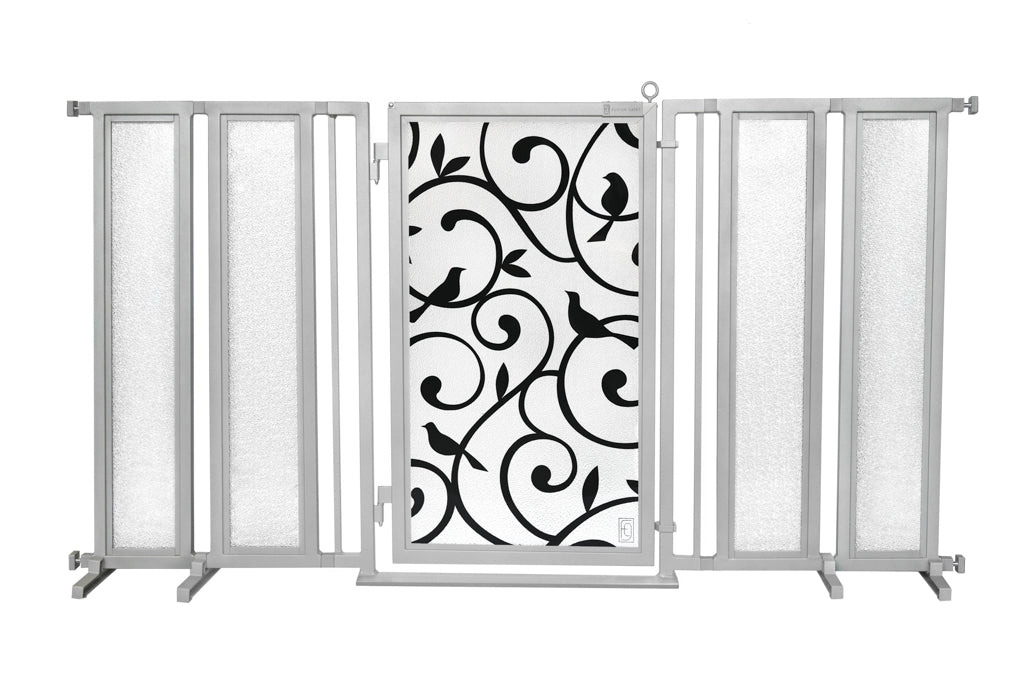"71.5"" - 74"" Songbirds Fusion Gate, Satin Nickel Finish"