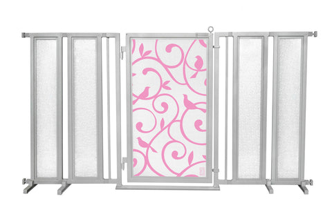 "71.5"" - 74"" Songbirds in Pink Fusion Gate, Satin Nickel Finish"