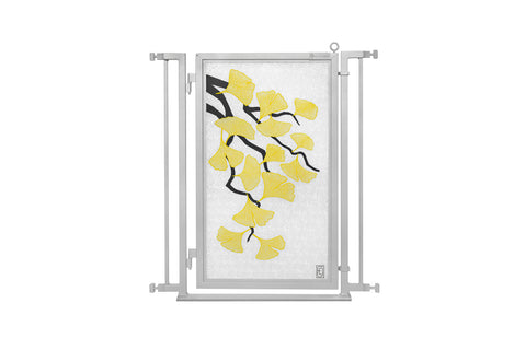 "32"" - 34"" Autumn Ginkgo Fusion Gate, Satin Nickel Finish"