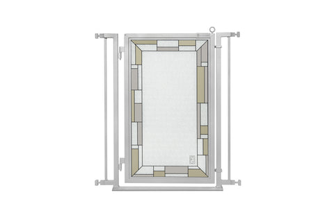 "32"" - 34"" White Garden Fusion Gate, Satin Nickel Finish"