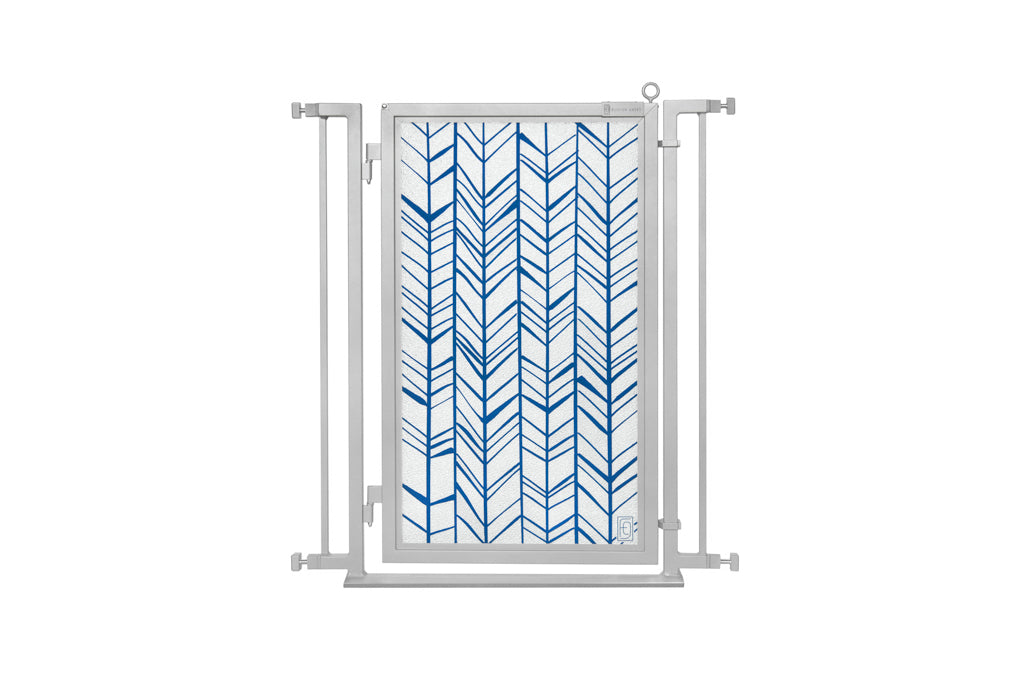 "32"" - 36"" Chevron Trail in Blue, Satin Nickel Finish"