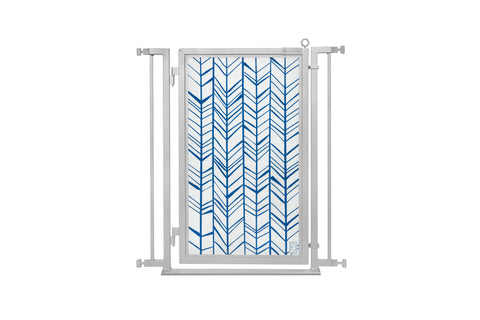 "32"" - 34"" Chevron Trail in Blue Fusion Gate, Satin Nickel Finish"