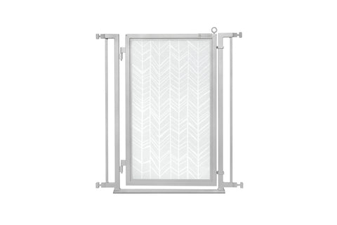 "32"" - 34"" Chevron Trail in White Fusion Gate, Satin Nickel Finish"