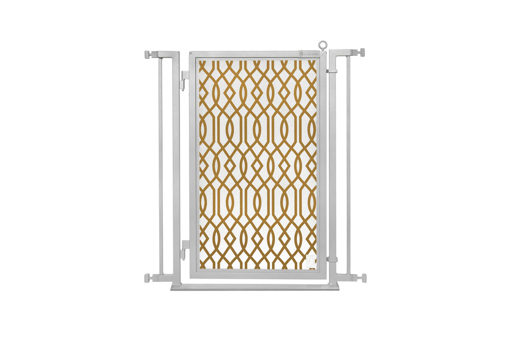 "32"" - 34"" Gold Lattice Fusion Gates, Satin Nickel Finish"