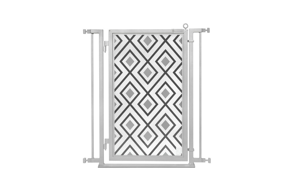 "32"" - 34"" Gray Diamonds Fusion Gate, Satin Nickel Finish"