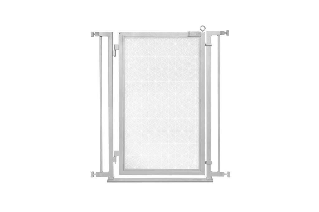"32"" - 34"" Linear Lace in White Fusion Gate, Satin Nickel Finish"