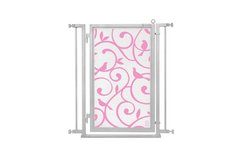 "32"" - 34"" Songbirds in Pink Fusion Gate, Satin Nickel Finish"