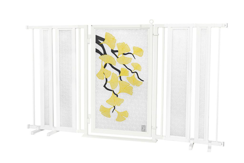 "65"" - 71.5"" Autumn Ginkgo Fusion Gate, White Pearl Finish"