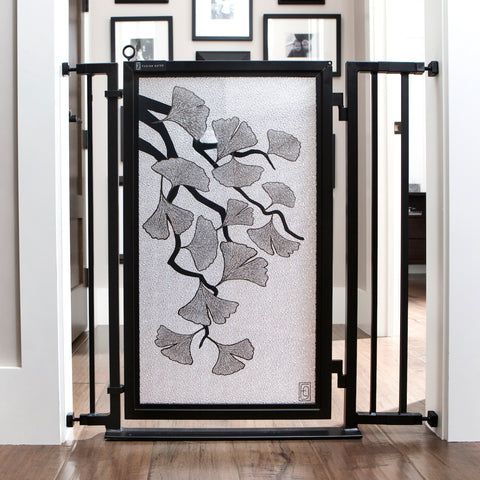 Fusion Gates Metal Indoor Dog & Baby Gate, Ginkgo in Platinum