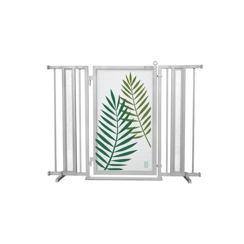 "36"" - 52"" Peaceful Palm Fusion Gate, Satin Nickel Finish"