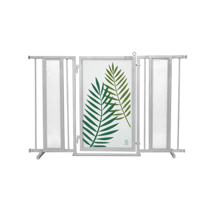 "52"" - 60"" Peaceful Palm Fusion Gate, Satin Nickel Finish"