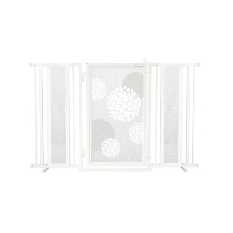 "60"" - 65"" White Garden Fusion Gate, White Pearl Finish"