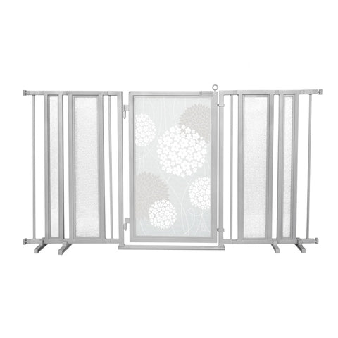 "65"" - 71.5"" Greek Key Fusion Gate, White Pearl Finish"