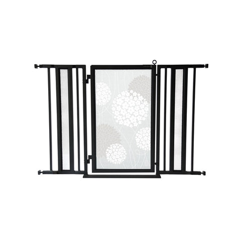 "36"" - 52"" White Garden Fusion Gate, Black Finish"