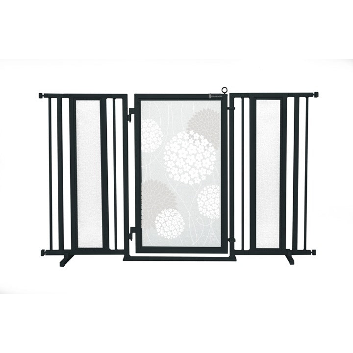 "60"" - 65"" White Garden Fusion Gate, Black Finish"