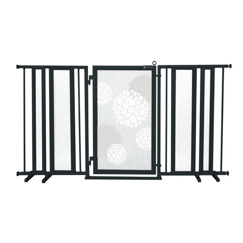 "65"" - 71.5"" White Garden Fusion Gate, Black Finish"