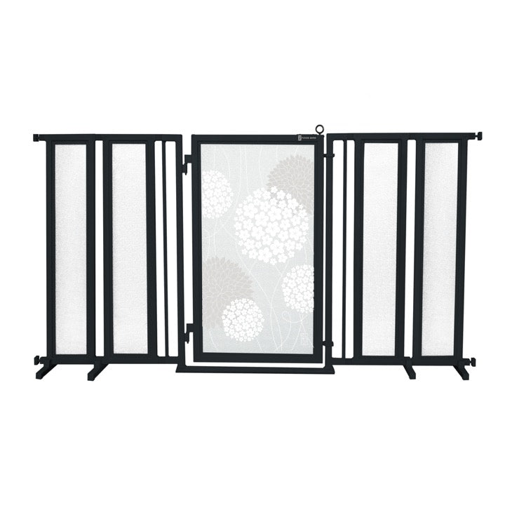 "71.5"" - 74"" White Garden Fusion Gate, Black Finish"