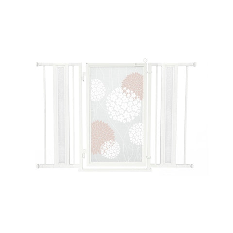 "36"" - 52"" Blushing Garden Fusion Gate, White Pearl Finish"