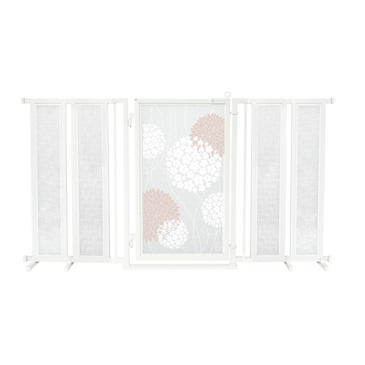 "71.5"" - 74"" Blushing Garden Fusion Gate, White Pearl Finish"