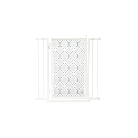 "32"" - 36"" Trellis in White Fusion Gate, White Pearl Finish"